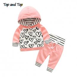 Top i Top Moda Słodkie Infant Newborn Baby Girl Ubrania Bawełniane Dla Dzieci Dres Z Kapturem Bluza Spodnie W Paski 2 sztuk Outf