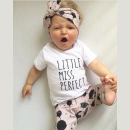 Lato niemowląt baby girl ubrania bawełna nadrukowane litery t-shirt + spodnie + pałąk maluch 3 sztuk outfit newborn baby girl od