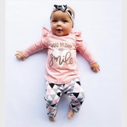3 Sztuk Newborn Baby Girl Odzież Różowy Rękaw Wzburzyć Topy + Spodnie + Pałąk Geometryczne Niemowlę Maluch Dziewczynek Ubrania z