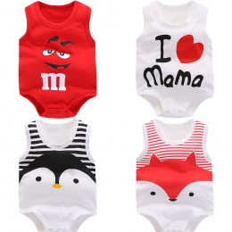 Śpioszki dla niemowląt Lato newborn baby chłopcy odzież Bawełniana bez rękawów druku Mody dziewczynek ubrania dla 0-24 M dzieci