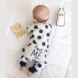 2018 Hot sprzedaży Mody Baby Boy Dziewczyna Odzież Newborn Maluch długimi rękawami Dot kombinezon Odzież Dla Niemowląt set Outfi