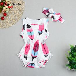 ISHOWTIENDA baby girl spadek ubrania druku noworodka odzież Baby Girl Pajacyki + dziecko pałąk Pomponem dziecko ogólnie Kombinez