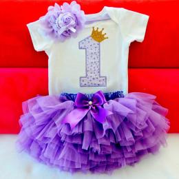Ai Meng Baby Girl Ubrania 1st Birthday Cake Smash Stroje Odzież Dla Niemowląt Ustawia Romper + Spódnica Tutu + Kwiat Cap newborn