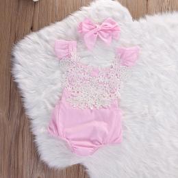 Dziecko Dziewczyny Ubrania Koronki Kwiat Baby Pajacyki + Łuk Pałąk Garnitury Lato Śliczne Różowe Stroje Dla Niemowląt Noworodka