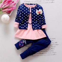 BibiCola Dzieci Wiosna dziewczynek odzież ustawia punkt fali odzież zestaw dziewczynek bawełniane ubrania garnitur potomstwo car