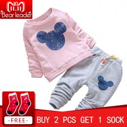 Miś Lider Dziewczynek Ubrania Casual Wiosna Dziecko Odzież Ustawia Cartoon Bluzy Drukowania + Pants 2 sztuk dla Dziecka ubrania