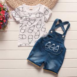 BibiCola Dziecko chłopcy odzież ustawia dziecko letnie produkty bebe bawełniane topy + spodenki na szelkach 2 sztuk garnitur nie