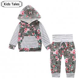 2018 Hot dziecko Jesień new baby boy ubrania Dzieci Dziecko Dziewczyny Z Kapturem Z Długim Rękawem Topy Kwiatowe spodnie 2 sztuk