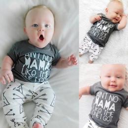 Newborn Baby Boy Dziewczyna Odzież Ustaw Mama chłopiec 2018 Bawełna Lato T-shirt + Strzałka Spodnie 2 sztuk niemowlę Toddle Odzi