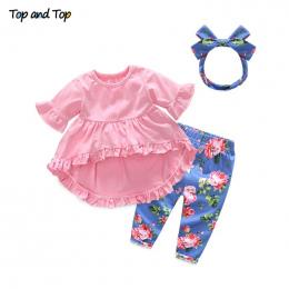 Top i Top Moda Cute Toddler Dziewczyny Odzież Ustaw Z Krótkim Rękawem T-shirt + Spodnie + Pałąk Baby Girl letnie Ubrania