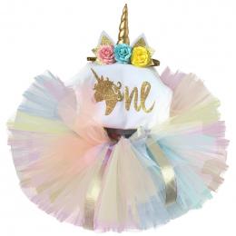 Noworodka 2018 Flower Party Zestaw Ubrań Dla Niemowląt Dziewczyna Jeden Lat Pierwsze Urodziny Tutu Stroje dla Dziewczyn Tulle To