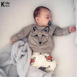 RY-166 Nowy styl bawełna noworodka zestaw cartoon fox drukowane dziecko kostium wiosna jesień t koszula + spodnie 2 sztuk ubrani