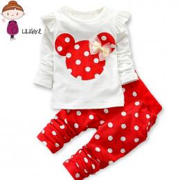 LILIGIRL Dziewczynek Sportowe Zestawy Ubrań dla Malucha Bawełna Druku Mickey T-Shirt + Polka Dot Spodnie Garnitur Dzieci topy Sp