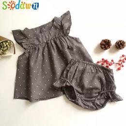 Sodawn 2018 Moda Lato Style DOT Baby Girl Ubrania BAWEŁNIANE Ubrania Zestaw Ubrania Dla Dzieci