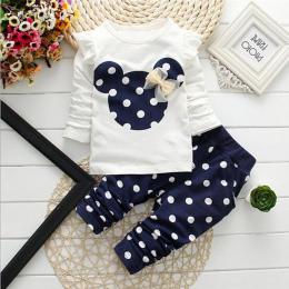 2017 nowa Wiosna dzieci dziewczyny zestawy odzieżowe mysz wczesną jesienią ubrania bow topy t koszula legginsy spodnie dla dziec
