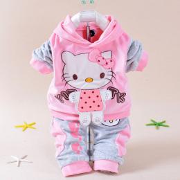 Dziecko Dziewczyny Ubrania Zestaw Cartoon Hello Kitty 2016 Zima Jesień Dzieci Odzież Casual Dresy Dzieci Ubrania Dziewczyny