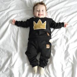 2018 baby boy z długimi rękawami odzież top + spodnie 2 sztuk sport garnitur dla dzieci ubrania zestaw noworodka korony odzież d