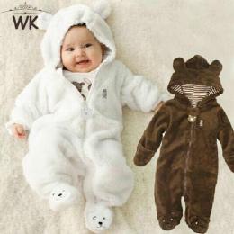 Zima Dziecko Rajstopy Niedźwiedź stylu dzieci koral polar Bluzy kombinezony newborn baby suwaki newborn toddle odzież JP-133