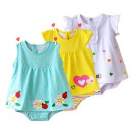 Baby Girl Pajacyki Lato 100% Bawełna Niemowląt Kombinezony Roupas Bebes Kolorowe Cartoon Newborn Księżniczka Spódnica Berbeć Dzi