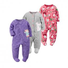 2018 boże narodzenie dziewczynka ubrania, miękkie polarowe dzieci jeden sztuk Kombinezony Piżamy 0-24 m niemowląt dziewczyna chł