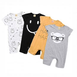 Baby Pajacyki Lato Styl Zasilany Baby Boy Dziewczyna Odzież Noworodka Królik Krótki Rękaw Ubrania Bebe De RoupaBBR129
