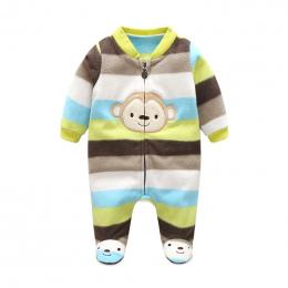 3 m-12 m Baby Pajacyki Zima Ciepły Polar Odzież Zestaw dla Chłopców Cartoon Monkey Niemowląt Dziewczyny Ubrania Noworodka kombin