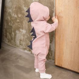 Noworodka Baby Boy Dziewczyna Dinozaurów Z Kapturem Romper Kombinezon Outfits Ubrania Z Długim Rękawem Solidna Baby Pajacyki Cas