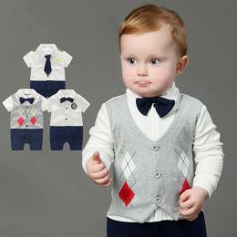 Newborn Baby Boy Pajacyki 100% Bawełna Krawat Gentleman Garnitur Łuk Rozrywka Body Suit Odzież Kombinezon Dla Niemowląt Maluch C