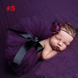 Dziecko Księżniczka Newborn Flower Opaska Bawełniana I Tulle Tutu Dziecko Zdjęcie Fotografia Prop Akcesoria Moda Suknia Balowa