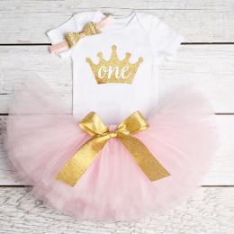 1st Urodziny Stroje Odzież Baby Girl Puszyste Balet Spódnice z Pałąkiem na Głowę Dla Dzieci Bawełna Romper Niemowląt Odzież Garn