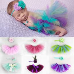 Dziewczyny Dziecko Tutu Spódnice Z Kwiat Pałąk Newborn Bebe Niemowląt Fluffy Tulle Spódnica Księżniczka Kostiumy Fotografia Rekw