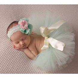 Dziecko Fotografia Rekwizyty Blue Ball Suknia z Regulowany Pałąk Odpowiednie Noworodka Handmade Dziecko Spódnica Tutu Pałąk