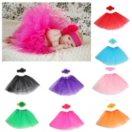 8 kolory 2 sztuk Newborn Fotografia Rekwizyty Niemowlę Kostium Outfit Księżniczka Dziecko Spódnica Tutu + Pałąk Dziecko Fotograf
