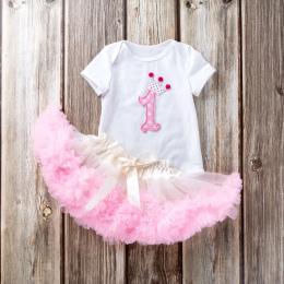 Niemowlę TUTU Spódnice 2018 Bawełna Jednolity Cartoon Drukuj Body + Spódnica Z Plisami Lace Suknia Balowa Dziewczyna Noworodka D