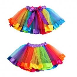 Nowy Kwalifikacje Pet Dziewczyny Dzieci Bowknot Spódnica Tutu Spódnice Dancewear Pettiskirt Kiecka Rainbow Levert Dig Dropship #