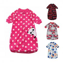 Dziecko Śpiwór Uroczy Worek Dla Noworodka Snu Polar Ubrania Dziecięce śpiwory stylu Rękaw Romper dla 0-9 M