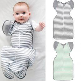 Newborn Niemowląt Chłopiec Dziewczyna Śpiwór Dziecko Paski Koc Spania Wrap Zipper Przewijać Dziecko Jesień Bawełna Dziecko Śpiwó