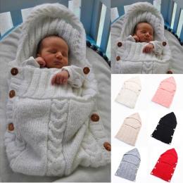 Newborn Baby Śpiwór Zimowy Wełna Dzianiny Z Kapturem Przewijać Wrap Śliczne Miękkie Niemowląt Baby Stuff Akcesoria Dziecięce 70*