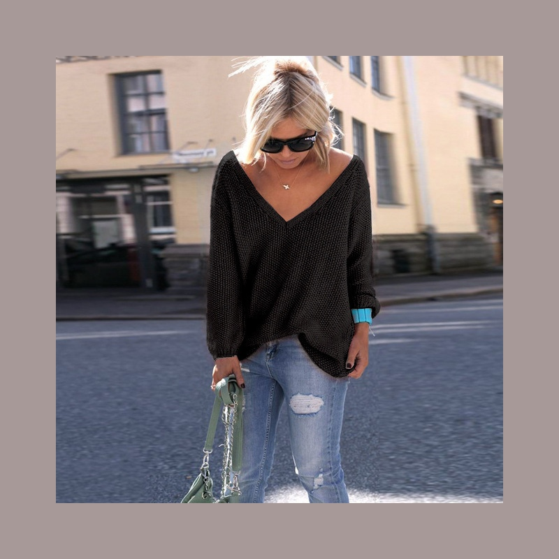 8aa293eb51 ... 2018 Nowy Plus Size Jesień Zima Knitting Casual Długi Rękawem Stałe  Kolory Sweter Luźne Kobiet Swetry ...