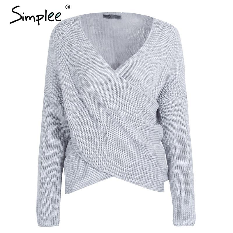 39a91dd1 Simplee V neck krzyż dzianiny sweter zima kobiety Moda dół rękawem ...