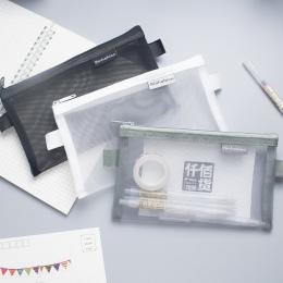 Proste Przejrzyste Siatki Piórnik Biurowe Student Ołówek Przypadki Nylon Kalem Kutusu Szkolne Długopis Box Astuccio Scuola