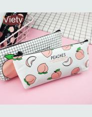Piórnik szkolny Płótno Owoc Brzoskwinia piórniki dla dziewczyny torba ołówek kosmetyczka