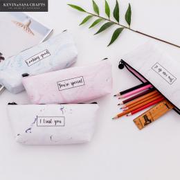 Marmur Piórnik Kawaii Pencilcase Papiernicze Szkolne Jakości Drukowane PU Ołówki Przechowywania Bts Piórniki Szkoły Narzędzia