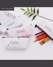Modny piórnik z imitacji marmuru dla dziewczyn dla chłopców damska kosmetyczka różowa niebieska