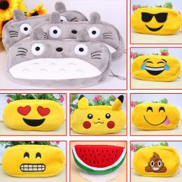 Kawaii Cartoon Pen case Totoro pluszowe Twarz Uśmiech Emotikon Śliczny piórnik Szkoła Minecraft etui trousse scolaire stylo 0481