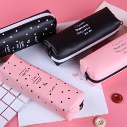 Ładny Różowy piórnik dla dziewczyn Kawaii Czarno białe Kropki Pu Leather Pióro Torba Biurowe Etui Biuro Szkolne Zakka escolar