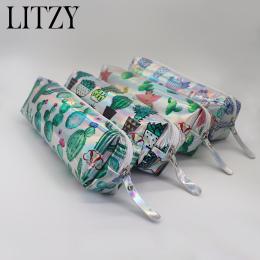 Kaktus Piórnik Holograficzny Laserowy Długopis Torba Dla Dziewczyny Chłopcy Uczeń Duża Pojemność PU Wodoodporna Pen Box Dostaw S