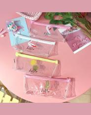 Flamingo Piórnik Przezroczysty Do szkoły na ołówki, Kosmetyczka torebka dla dziewczyn etui