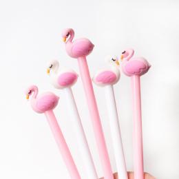 2 sztuk/partia 0.5mm Kreatywny Swan Flamingo Żel Długopis Pióro Podpis Escolar Szkolne materiały biurowe Papelaria Dostaw Upomin