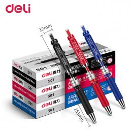 Deli Gel pen 3 sztuk 0.5mm biurowe Biurowe długopisy żelowe dla studentów pisania Czarny Czerwony Niebieski Wysokiej jakości żel